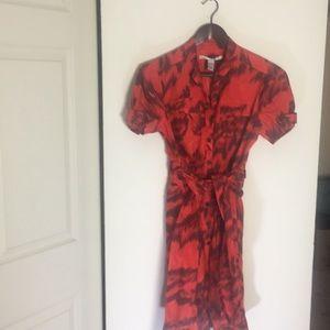 Tiger shirt dress DVF silk/cotton